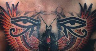 50 Auge von Horus Tattoo Designs für Männer - ägyptische Hieroglyph-Tinte