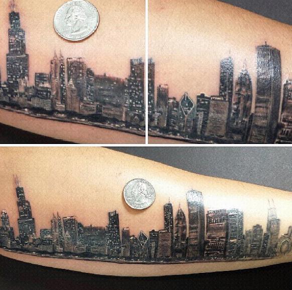 20 Chicago Skyline Tattoo Designs für Männer - Urban Center Ink