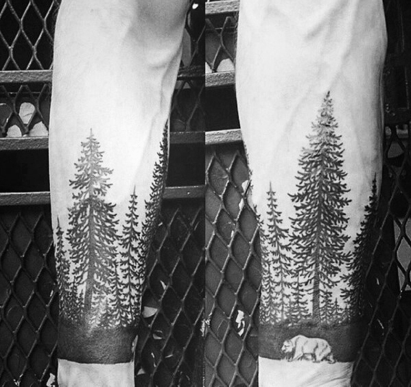 50 Tree Line Tattoo Design-Ideen für Männer - Timberline Ink