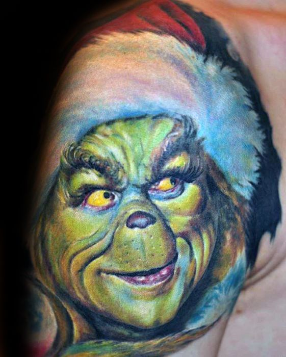 30 Grinch Tattoos für Männer - Dr. Seuss Design-Ideen