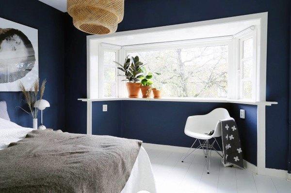 Top 50 besten Navy Blue Schlafzimmer Design-Ideen - beruhigende Wandfarben