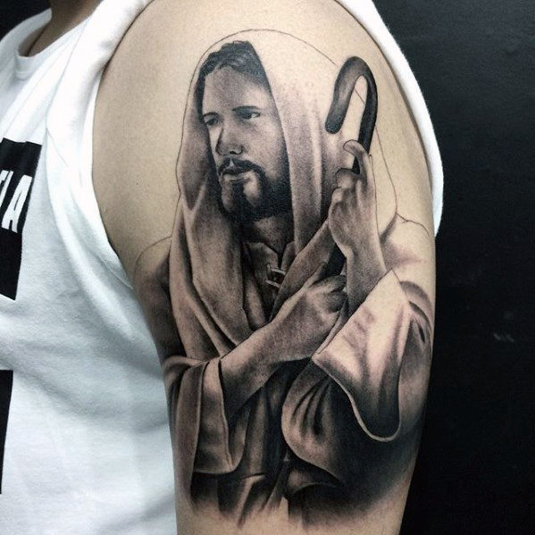 60 Jesus Arm Tattoo Designs für Männer - religiöse Tinte Ideen