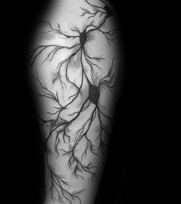 40 Neuron Tattoo Designs für Männer - Nervenzelltinte Ideen