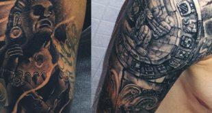 80 aztekische Tattoos für Männer - alte Stammes- und Krieger-Entwürfe