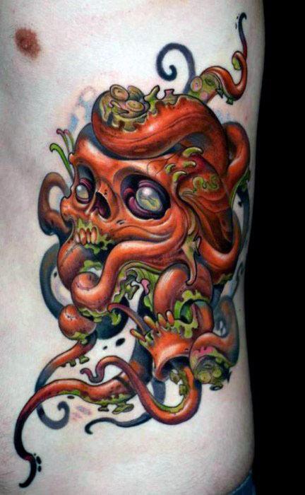 40 Octopus Skull Tattoo Designs für Männer - Oceanic Ink Ideen
