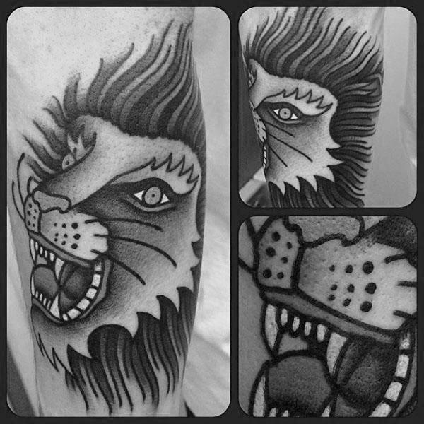 30 traditionelle Löwen Tattoo Designs für Männer - Retro große Katzen-Ideen