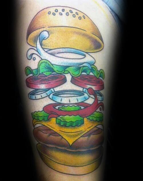 40 Cheeseburger Tattoo Designs für Männer - Food Ink Ideen