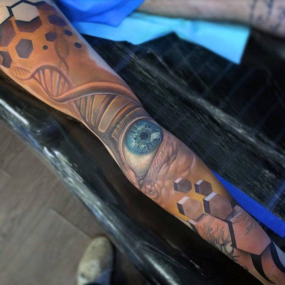 60 DNA-Tattoo-Designs für Männer - selbstreplizierende genetische Tinte