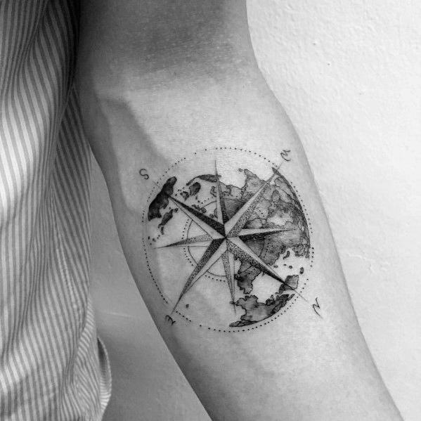 40 geometrische Kompass Tattoo Designs für Männer - coole Geometrie Ideen