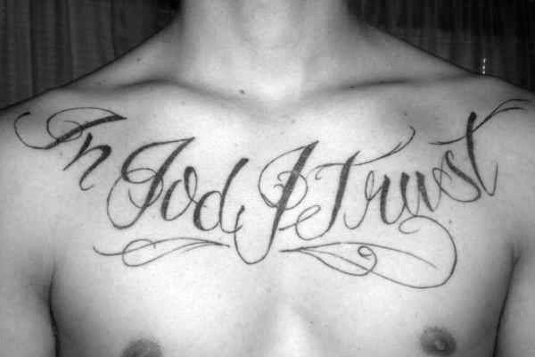 20 In Gott vertrauen wir Tattoo Designs für Männer - Motto Ink Ideas