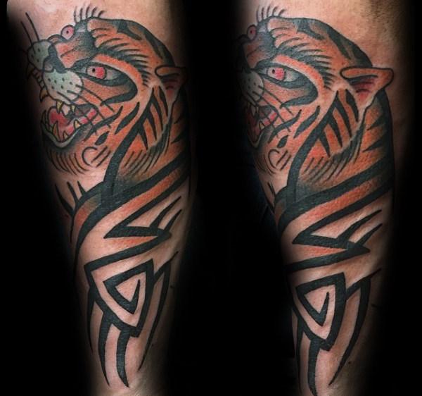 40 Stammes-Tiger-Tätowierungs-Entwürfe für Männer - große Katzen-Tinten-Ideen