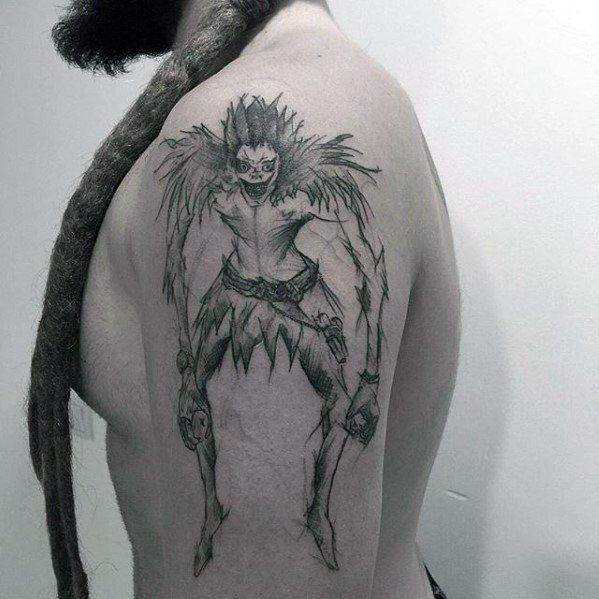 50 Death Note Tattoo Designs für Männer - japanische Manga Ink Ideen