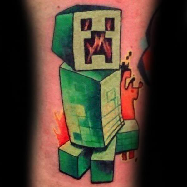 30 Minecraft Tattoo Designs für Männer - Sandbox Videospiel-Ideen