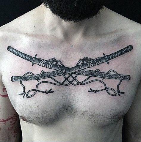 40 Katana Tattoo Designs für Männer - japanische Schwert Tinte Ideen