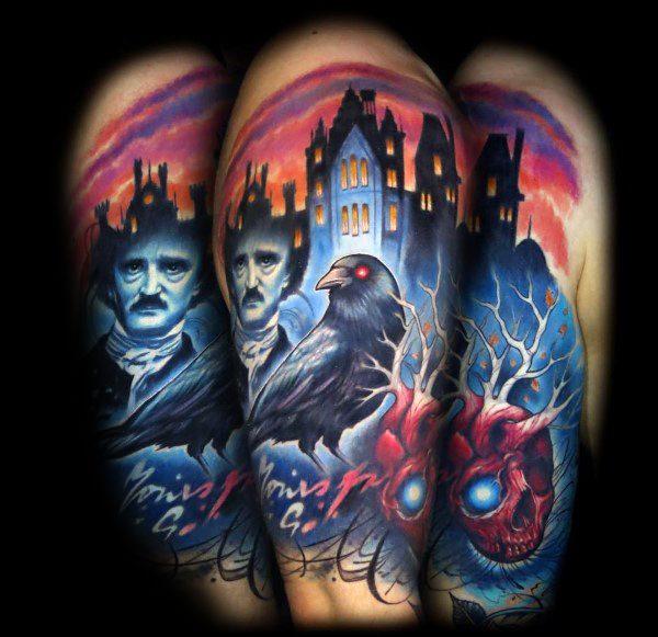 60 Edgar Allan Poe Tattoo Designs für Männer - Literatur Tinte Ideen