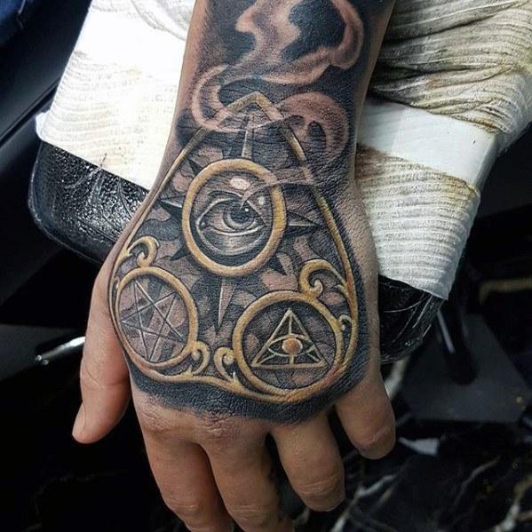 40 Planchette Tattoo Designs für Männer - Ouija Board Ink Ideen