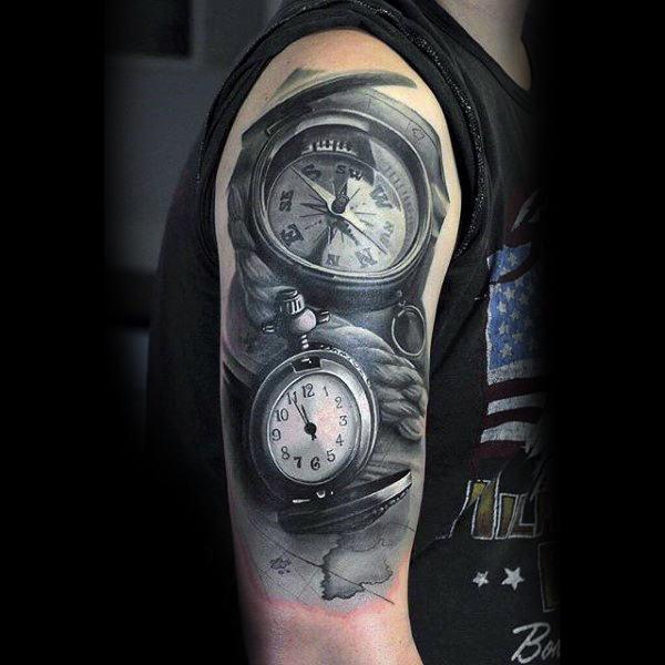 75 Schwarz-Weiß-Tattoos für Männer - Masculine Ink Designs