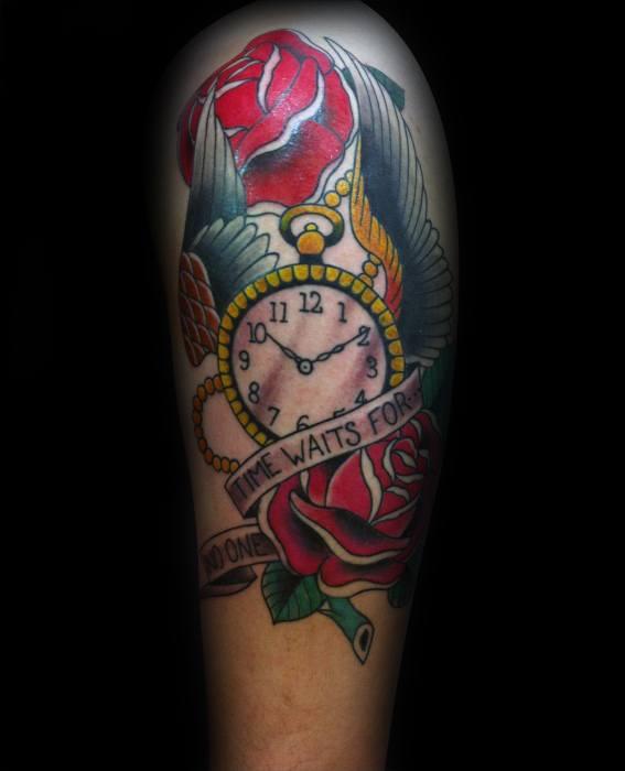 40 Zeit wartet für keinen Mann Tattoo Designs für Männer - zitieren Sie Tinte Ideen