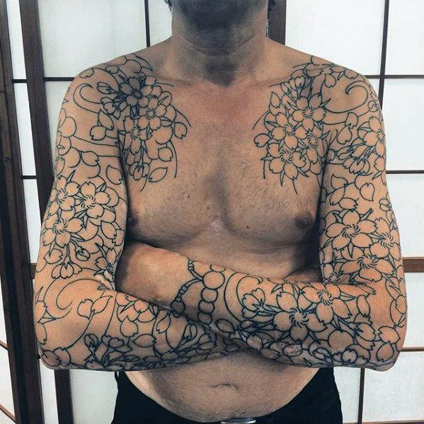 50 japanische Blumen Tattoo Designs für Männer - Floral Ink Ideen