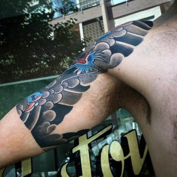 50 japanische Cloud Tattoo Designs für Männer - schwimmende Tinte Ideen