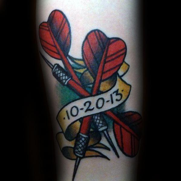 40 Dart Tattoos für Männer - Dartscheibe Design-Ideen