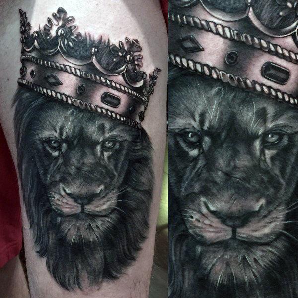 50 Löwen mit Krone Tattoo Designs für Männer - Royal Ink Ideen