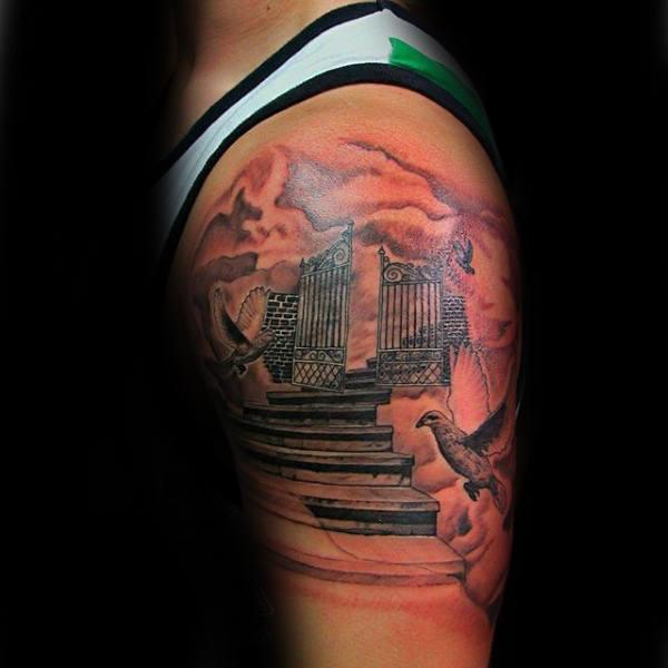 50 Himmel Tattoos für Männer - höhere Platz Design-Ideen