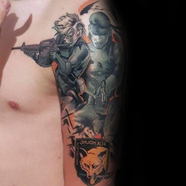 50 Metal Gear Tattoo Designs Für Männer Gaming Ink Ideen Mann