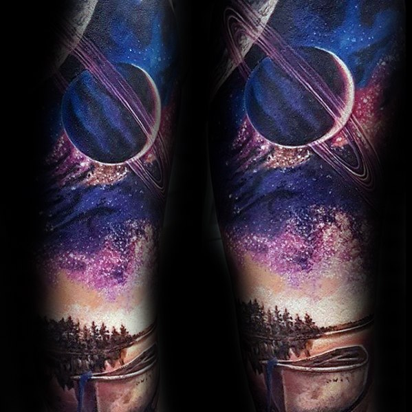 60 Saturn Tattoo Designs für Männer - Planet Ink Ideen