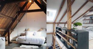 60 coole attische Schlafzimmer-Ideen - aufgestiegene schlafende Viertel
