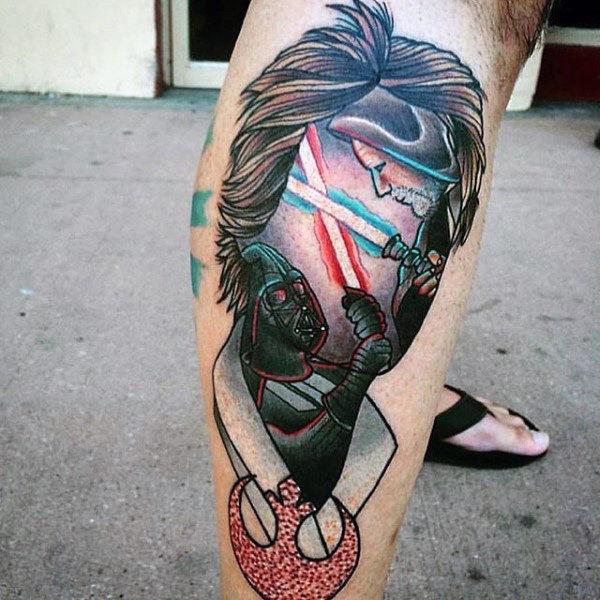 60 Lichtschwert Tattoo Designs Für Männer Star Wars Ink Ideen