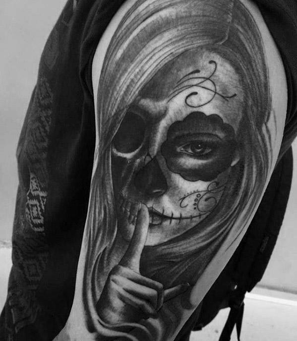 50 La Catrina Tattoo-Designs für Männer - mexikanische Tinte Ideen