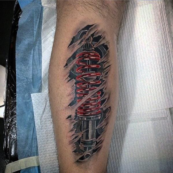 50 Suspension Tattoo Designs für Männer - Stoßdämpfer-Ideen