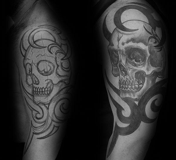 50 Tribal Skull Tattoos für Männer - Maskulin Design-Ideen