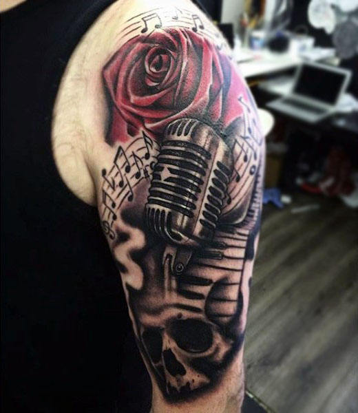 90 Mikrofon Tattoo Designs für Männer - Manly Vocal Ink