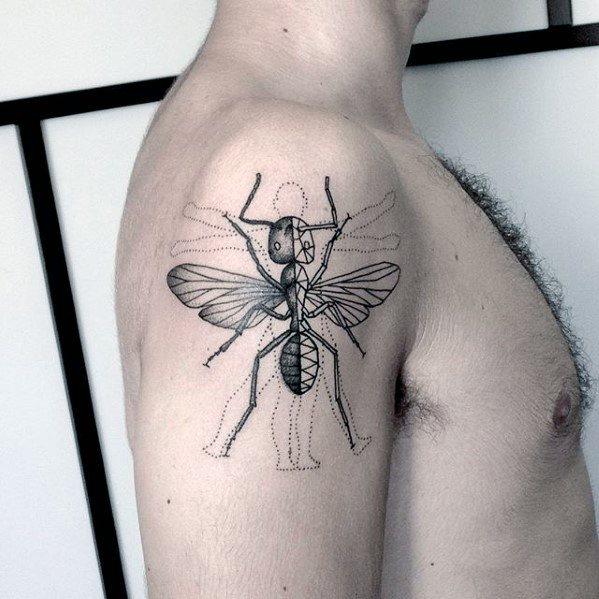 50 Ant Tattoo Designs für Männer - Insektentinte Ideen