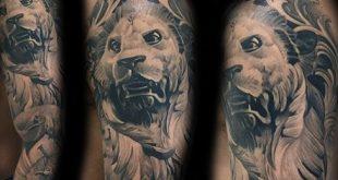 40 Löwen Statue Tattoo Designs für Männer - geschnitzte Stein Tinte Ideen
