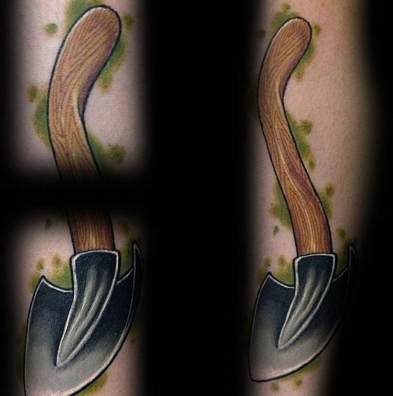 30 Shovel Tattoo Designs für Männer - Tool Ink Ideen