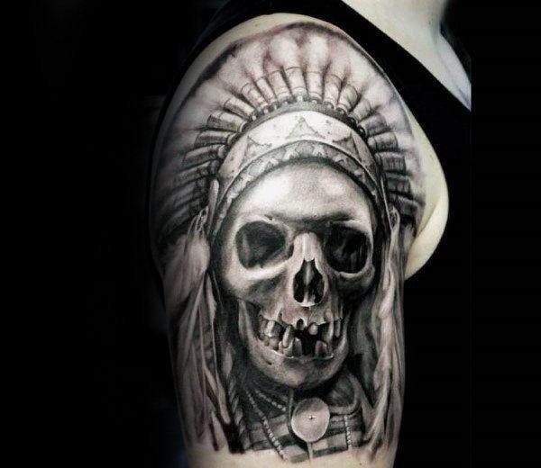 80 Indian Skull Tattoo Designs für Männer - Cool Ink Ideas - Mann ...