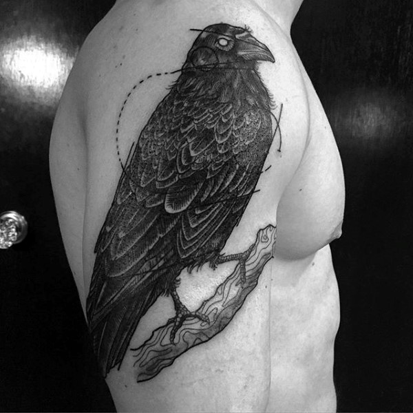 100 Crow Tattoo Designs für Männer - Black Bird Ink Ideen