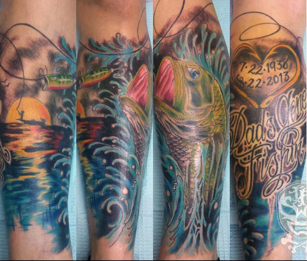 75 Bass Tattoo Designs für Männer - Sea-Verkleidung Tinte Ideen