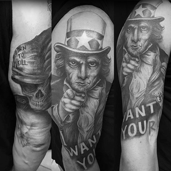 30 Uncle Sam Tattoo Designs für Männer - American Ink Ideen