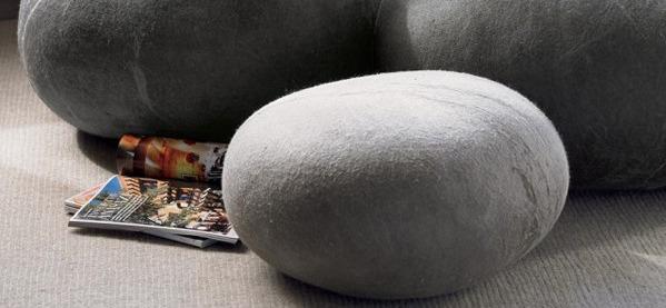 Übergroße gefilzte Wollsteine Kissen