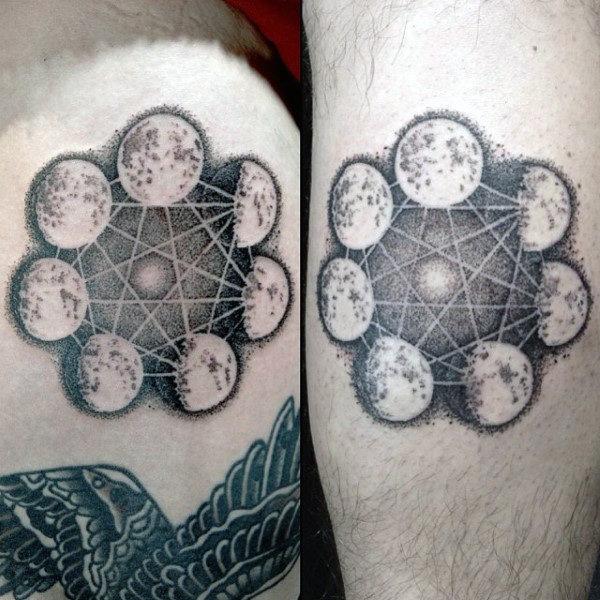 75 Mondphasen Tattoo-Designs für Männer - beleuchtete Ideen