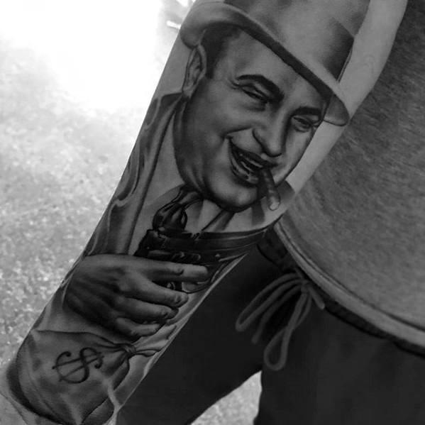 50 Al Capone Tattoos für Männer - Gangster Design-Ideen