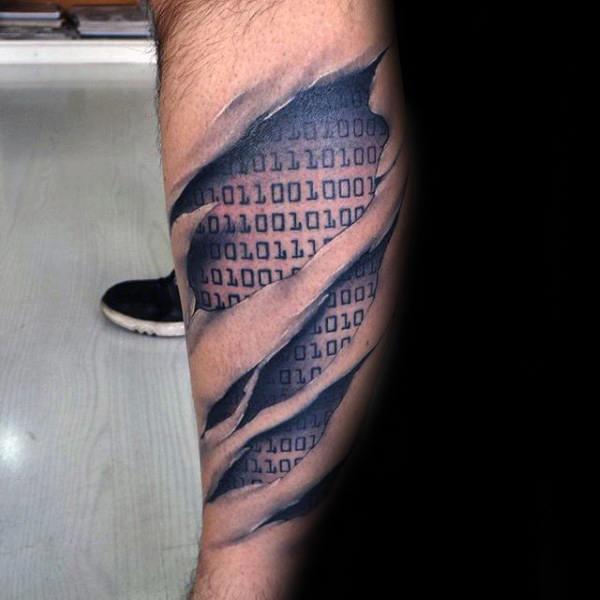 30 Binäre Tattoo Designs Für Männer Kodierte Tinte Ideen Mann
