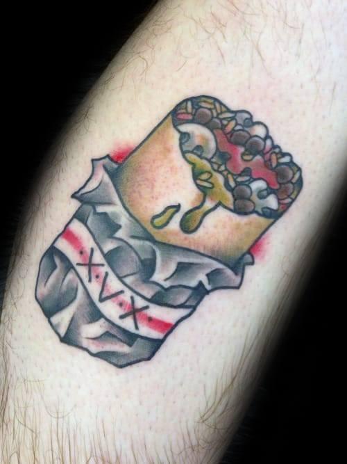 20 Burrito Tattoo Designs für Männer - Food Ink Ideen