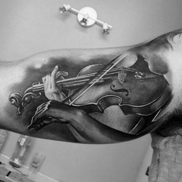 50 Violine Tattoo Designs für Männer - Musik Instrument Tinte Ideen