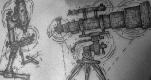 40 Teleskop Tattoo Designs für Männer - Stargazing Ink Ideen