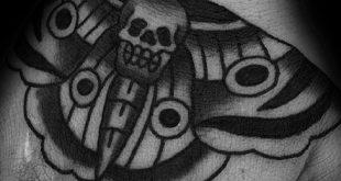 50 traditionelle Motten-Tätowierungs-Entwürfe für Männer - nächtliche Insektentinten-Ideen